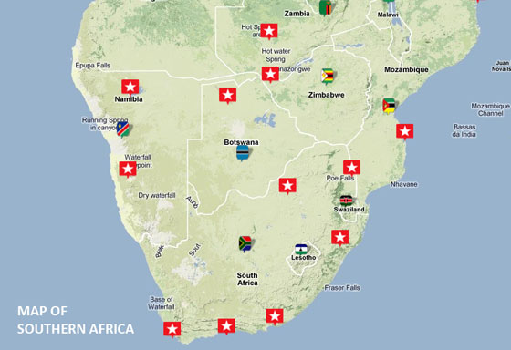 Travel destination Southern Africa Safari Tours – Tourist Attractions Map In Africa