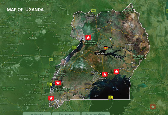 map of uganda africa. Map of Uganda